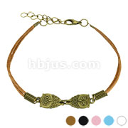 Owl Cast Iron Leather Bracelet with Lobster Claw Clasp