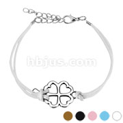 Clover Cast Iron Leather Bracelet with Lobster Claw Clasp