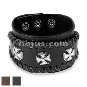 Three iron Cross Center Adjustable Leather Bracelets
