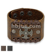 Round Celtic Cross Center Adjustable Leather Bracelets