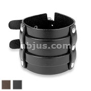 Wide Double Buckle Adjustable Leather Bracelets