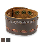 Double Stiched Adjustable Leather Bracelets