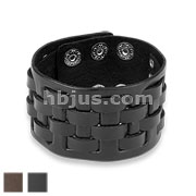 Weaved Checker Adjustable Leather Bracelets