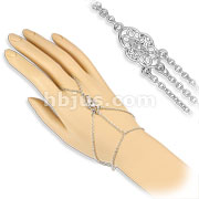 CZ Set Vintage Charm Slave Chain Bracelets Rodium Plated Over Brass