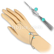 Turquoise Beads and Leaf Charm Ring Bracelet Chain