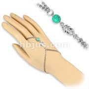 Turquoise Bead with Leaf Charms Ring Bracelet Chain