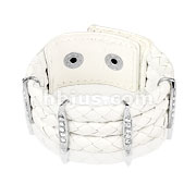 White Woven Leather Bracelet with Gem Paved Bars