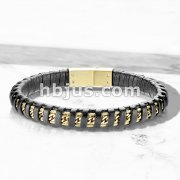 High Quality Black Micro Fiber Leather and PVD Gold Stainless Steel Mens Bracelets