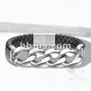 High Quality Weaved Black Micro Fiber Leather and Curb Stainless Steel Chain Mens Bracelets