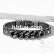 High Quality Flat Black Micro Fiber Leather and Matte Black Stainless Steel Chain Mens Bracelets