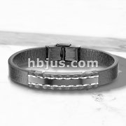 High Quality Flat Black Micro Fiber Leather and Black PVD Plate Stainless Steel Mens Bracelets
