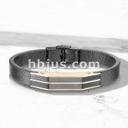 High Quality Flat Black Micro Fiber Leather and Rose Gold PVD On Black Stainless Steel Mens Bracelets
