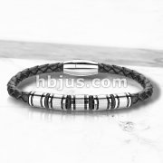 High Quality Black Micro Fiber Bolo Leather Cord and Stainless Steel Charm Bracelets