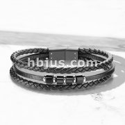 High Quality Multi Strand Black Micro Fiber Leather and Stainless Steel Unisex Bracelets
