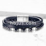 High Quality Multi Strand Blue Micro Fiber Leather and Stainless Steel Unisex Bracelets