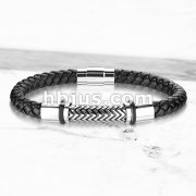 High Quality Black Micro Fiber Bolo Leather Cord and Stainless Steel Unisex Bracelets