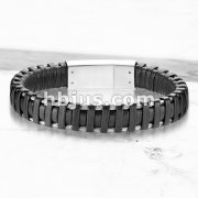 High Quality Black Micro Fiber Leather and Stainless Steel Mens Bracelets