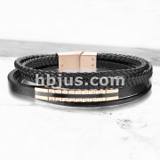 High Quality Multi Strand Black Micro Fiber Leather and Rose Gold PVD Stainless Steel Mens Bracelets