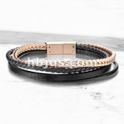 High Quality Multi Strand Black Micro Fiber Leather and Rose Gold PVD Stainless Steel Chain Unisex Bracelets