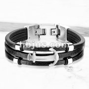 High Quality Multi Strand Black Micro Fiber Leather and Anchor Stainless Steel Bracelets