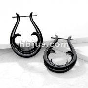 Pair of Organic Hand Carved Horn Tribal Stirrup Hanger Earring