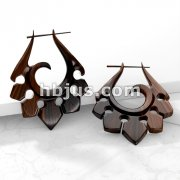 Pair of Organic Hand Carved Sono Wood Tribal Ornament Stirrup Hanger Earring