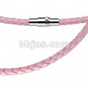 Pink Leather Multi Weaved Necklace with Lockable Magnetic Closure