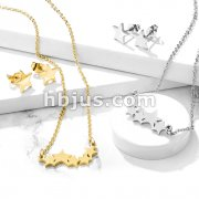 Set of Necklace and Earrings Stainless Steel Star Ear Stud Rings and Bridged Stars Necklace with Chain