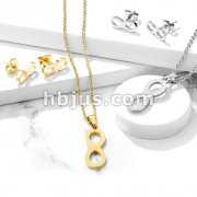 Set of Necklace and Earrings Stainless Steel Infinite Ear Stud Rings and Infinite Necklace with Chain