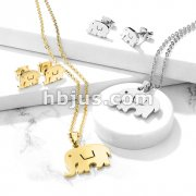 Set of Necklace and Earrings Stainless Steel Elephant Ear Stud Rings and Infinite Necklace with Chain