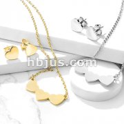 Set of Necklace and Earrings Stainless Steel Heart Ear Stud Rings and Triple Hear Necklace with Chain