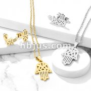Set of Necklace and Earrings Stainless Steel Hamsa Ear Stud Rings and Infinite Necklace with Chain