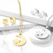 Set of Necklace and Earrings Stainless Steel Star and Crescent Ear Stud Rings and Infinite Necklace with Chain