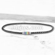Black Braided Leather Necklace with Magnetic Rainbow Striped Closure