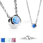Bezeled Opal Set 316L Stainless Steel Pendant with Chain