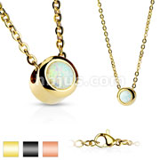 IP Plated Bezeled White Opal Set 316L Stainless Steel Pendant with Chain