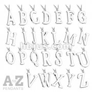 Alphabet Initial 316L Stainless Steel Pendant with Chain 26 Pack (Complete A to Z)