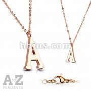 Rose Gold IP Alphabet Initial 316L Stainless Steel Pendant with Chain