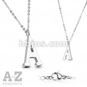 Alphabet Initial 316L Stainless Steel Pendant with Chain