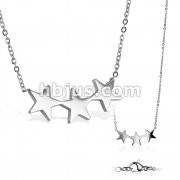 Triple Star Stainless Steel Pendant with Chain Necklace