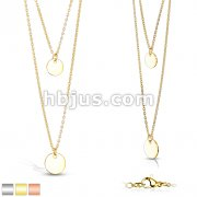 Double Layered Stainless Steel Round Plate Pendants on Chains Necklace