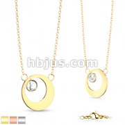 Round Plate with Round Crystal in Hollow Circle Stainless Steel Pendant on Chain Necklace