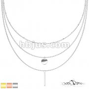 Round Plate and Rectangular Bar Pendant with Petite Beads on Triple Layered Stainless Steel Chain Necklace