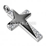 Stainless Steel Cross Pendant with Graduated Gems and Black Enamel