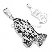 Praying Hands with Crosses and Crystal Lined Wrists Serenity Prayer Engraved Back Stainless Steel Pendant