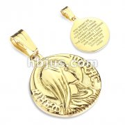 Saint Mary with ''Maria Immac'' on Sides Serenity Prayer Engraved Back Gold IP Stainless Steel Pendant