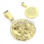 Jesus with ''Ecce Homo'' on Sides Serenity Prayer Engraved Back Gold IP Stainless Steel Pendant