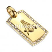 Masonic Emblem Center Crystal Lined Gold Dog Tag Stainless Steel Pendant
