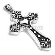 Heart Center Celtic Cross Tips Cross Stainless Steel Pendant