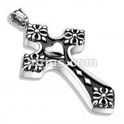 Heart Center Celtic Cross Tips Cross Stainless Steel Pendant